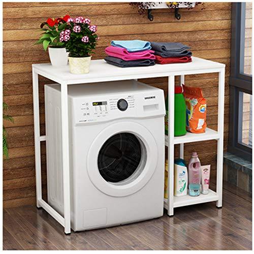 Estante de almacenamiento para lavadora, tambor, rueda ondulada, piso de varias capas, para el hogar, cuarto de baño, estante de almacenamiento, balcón, armario de lavandería, color blanco 2