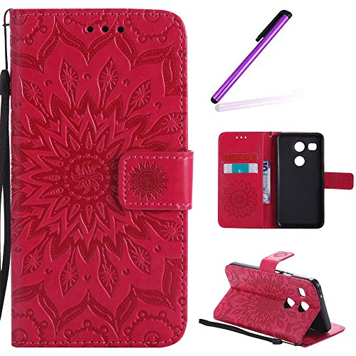 EMAXELERS LG Nexus 5X Hülle Elegant Retro Prägung Mandala Blumen Sonnen Muster PU Cover Handytasche Schale Handyhülle für LG Nexus 5X,Red Left and Right Sunflower