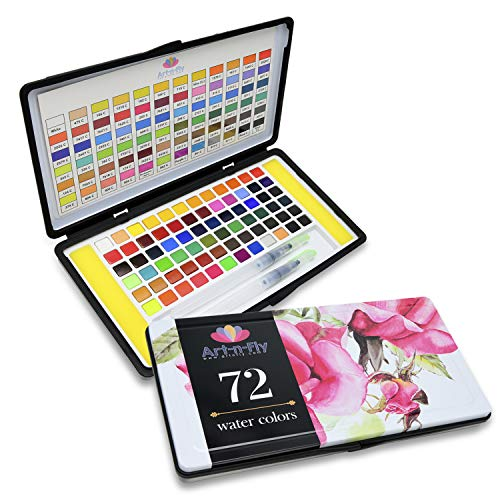 72 Watercolor Paint Set with 2 Water Brushes and 72 Vibrant Color Cakes in Tin Box. Includes Skin Tone, Metallic (Gold and Silver) and Pastel Colors for Artist