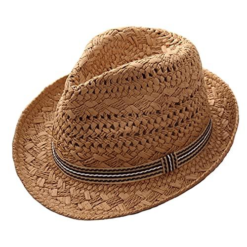 WATCBQ Chapéu de verão masculino Panamá, chapéu de jazz, chapéu de sol britânico, chapéu de jazz, chapéu de panamá, chapéu de palha de papel, chapéu de praia respirável para viagens ao ar livre