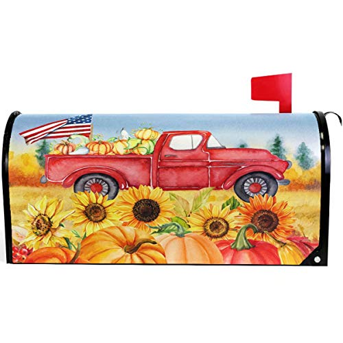 Wamika Autumn Fall Thanksgiving Pumpkin Red Truck Mailbox Cover Magnetic Standard Size, Sunflower American Flag Letter Post Box Cover Wrap Decoration Welcome Home Garden Outdoor 21' Lx 18' W