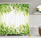 Blätter-Dekor-Sammlung Moderner Art-Druck-Rahmen des Baums verlässt Niederlassungen Feng Shui Innenministerium-Illustrations-Polyester-Gewebe-Badezimmer-Duschvorhang-Satz mit den grün-gelben Haken