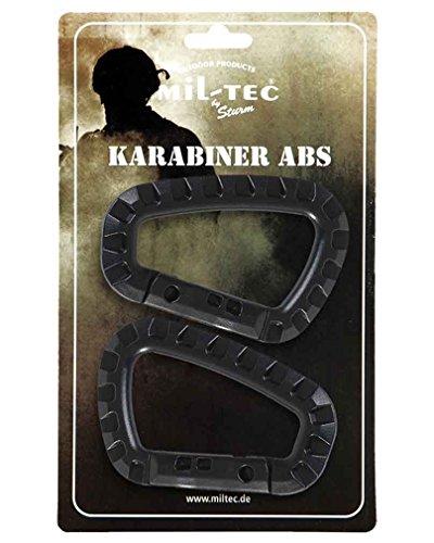 Mousqueton ABS (2 pièces/emballage blister), noir, 8,3 cm