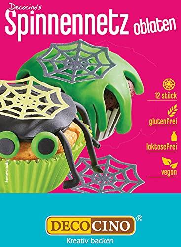 Decocino Halloween Oblaten Spinnennetze mit 3D-Effekt (12Stk.) – Torten-Deko Kuchen-Deko Muffin-Deko Cupcake-Deko – Halloween-Deko aus Esspapier