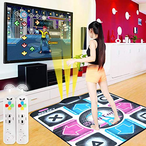 Wakeu Single Person Dance Mat for Kids Boys & Girls, HD Wireless Single Hand Dance 58 Games & AUX Music,Non-Slip+2 Remote Controller,Multi-Function Games&Levels,Sense Game for PC TV (B)