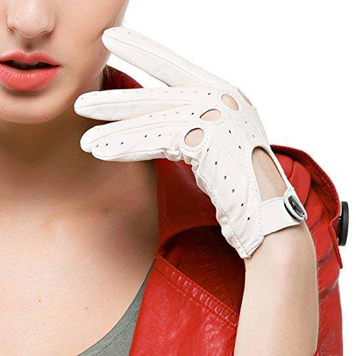 Nappaglo Damen Lederhandschuhe für fahren Touchscreen klassische Lammfell Vollfinger Motorrad Ungefüttert Handschuhe (M (Umfang der Handfläche:17.8-19.0cm), Weiße(Non-Touchscreen))