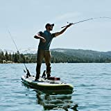 Elkton Outdoors Inflatable Fishing Paddle Board Grebe - 12 ft Fishing SUP Package, Fishing Rod Holders, Paddle, Leash, Carry Bag, Pump, Accessory Mounts and Non-Slip EVA Deck