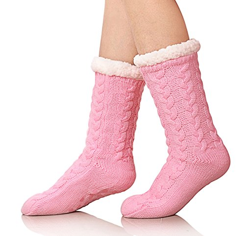 SDBING Women's Winter Super Soft Warm Cozy Fuzzy Fleece-lined Christmas Gift With Grippers Slipper Socks (Pink)