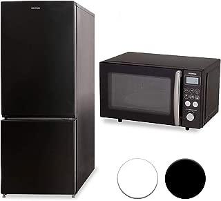 【セット買い】アイリスオーヤマ 冷蔵庫 156L 自動霜取機能付き ブラック NRSD-16A-B & オーブンレンジ 15L ブラック MO-T1501-B セット
