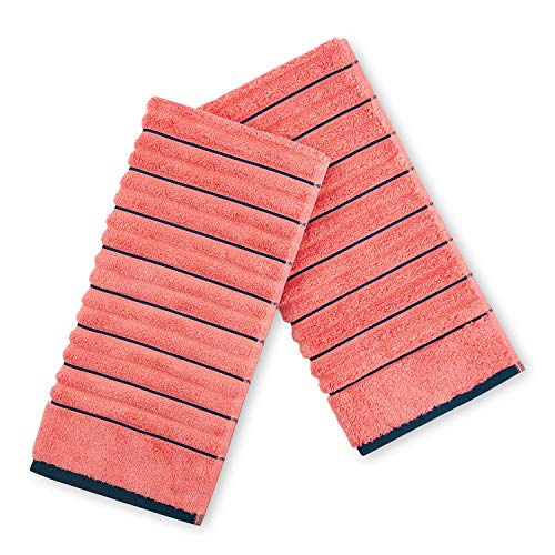 Spaces Exotica Ribbed 575 GSM Cotton Hand Towel - Coral Navy