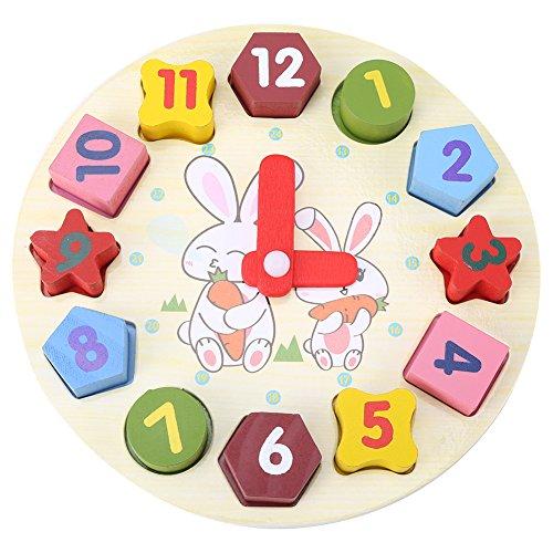 Lernuhr Puzzle Uhr Holzblöcke Pädagogisches Spielzeug Lernstoffe Geschenk für Kleinkind