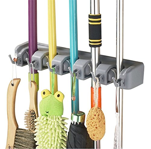 Esup Mop and Broom Holder Broom Organizer Wall Mounted for Your Closet with Limited Space Holds MopsBroomsDustpanShovel 5 Ball Slots and 6 Hooks