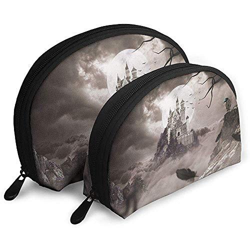 Schlösser Krähen Nacht Mond Fels Tragbare Taschen Kosmetiktasche Kulturbeutel Multifunktions Tragbare Reisetaschen Kleine Make-up-Clutch-Tasche mit Reißverschluss