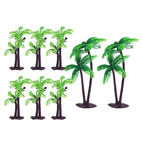 Amosfun Palm Tree Cake Toppers Tropical Party Cupcake Toppers Birthday Cake Cards Baking Decor for Luau Hawaii Birthday Party Festival 8PCS