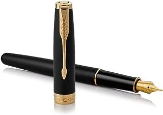 PARKER Sonnet Fountain Pen, Matte Black Lacquer with Gold Trim, Fine Nib (1931516)