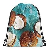 OPLKJ Bolsas con cordón para gimnasio, Beneficios de la bolsa de mochila con asas de agua de coco Para mujeres Hombres Bolsa con bolsa de gimnasio para viajes Bolsa de almacenamiento de jersey de pla