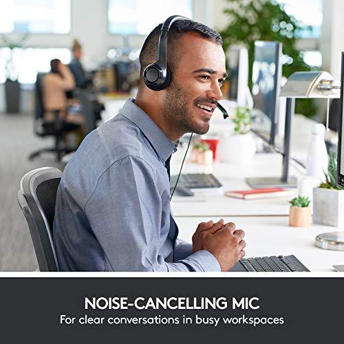Logitech H390 Cuffie Cablate, Stereo con Microfono Regolabile con Cancellazione del Rumore, USB, Controlli sul Cavo, PC/Mac/Laptop, Nero
