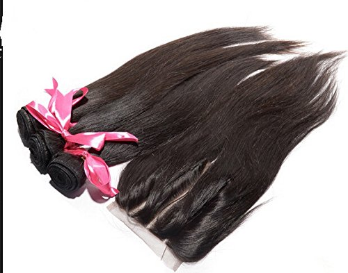 "2018 Popular DaJun Hair 8A 3 Way Lace Closure With Bundles Straight Cambodian Virgin Hair Bundle Deals 3Bundles And Closure Natural Color 10""closure+16""16""18""weft"