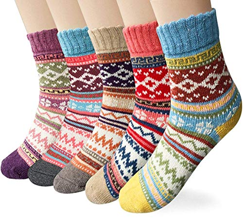 YSense 5 Paar Wollsocken Stricksocken Winter Damensocken Thermosocken Socken MEHRWEG