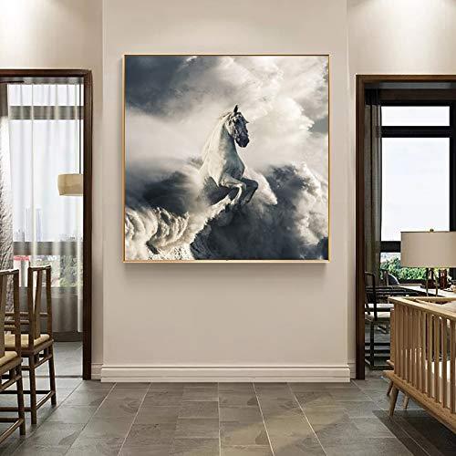 N / A Rahmenlose Malerei Poster abstrakte Wolke Pferd Bild auf Leinwand Wandbild Wohnzimmer Home DecorationZGQ11093 60x60cm