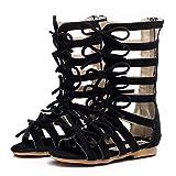 Children Girls Roman Zipper Bowknot Knee-High Gladiator Sandals Summer Boots black Size: 6.5 Toddler