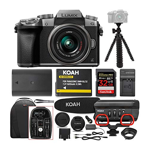 Panasonic LUMIX G7 Digital Camera with 14-42mm f/3.5-5.6 Lens and Koah Microphone Accessory Bundle (6 Items)