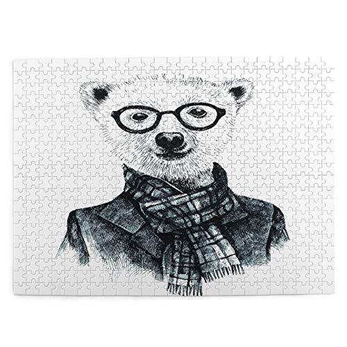 CVSANALA Rompecabezas con Imgenes 500 Piezas,Dibujado a Mano Disfrazado de Oso Hipster con Gafas,Educativo Juego Familiar Arte de Pared Regalo para Adultos,Adolescentes,Nios,20.4' x 15'