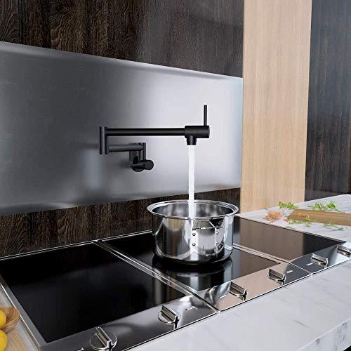 CZOOR Schwarz Küchentopf Füllstoff Klapp Wasserhahn bleifrei Messing Doppelgelenk Schwenkarm Waschbecken Wasserhahn Gelenkwandhalterung Zwei Griff