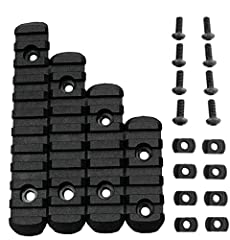 Polymer Picatinny Rails with 5 Slots, 7 Slots, 9 Slots, 11 Slots, 4pcs Different Lengths Rails Black Designed for Any Standard Picatinny/Weaver Accessories, the Polymer Rail Sections Included Screws and Allen Wrench You Need Feature Beveled Ends to R...