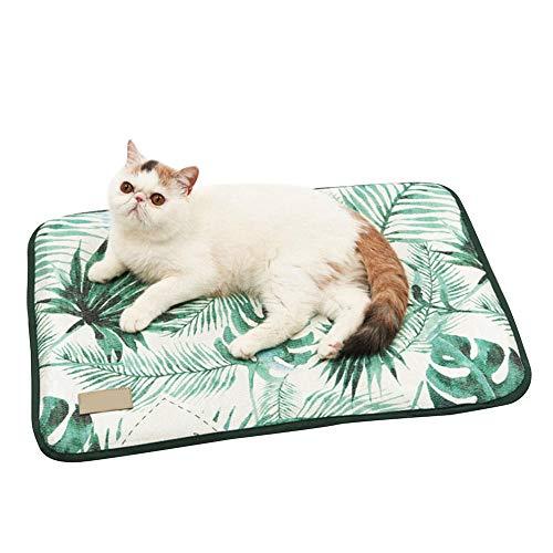 Alfombra Refrescante para Perros Gatos, Alfombrilla Refrescante para Mascotas Desodorante Antibacterianas Antimoho Antiácaros -Verde_65x47cm