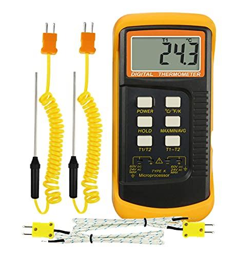 Termómetro Digital Tipo K (-50~1300°C) con Dos Canales y 4 Termopares (con cable y de acero inoxidable) Medidor de Temperatura Portátil de Alta Precisión