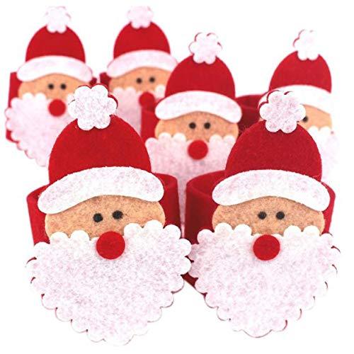 WARMWORD 6pcs Anillos de servilleta de Navidad Bandas Servilleta Hebilla Adornos para la Fiesta de Navidad...