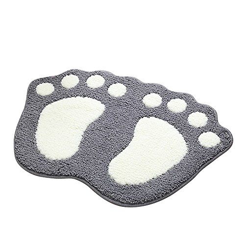Shanna - Alfombrilla de baño antideslizante, para baño o ducha, alfombra de suelo absorbente, para sala de estar, sofá, cojín, poliéster, Gris, 48 x 67 cm