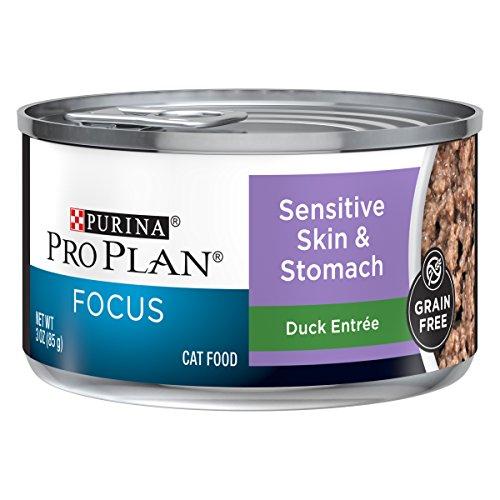 Purina Pro Plan Sensitive Stomach, Grain Free Wet Cat Food, FOCUS Sensitive Skin & Stomach Duck - (24) 3 oz. Pull-Top Cans