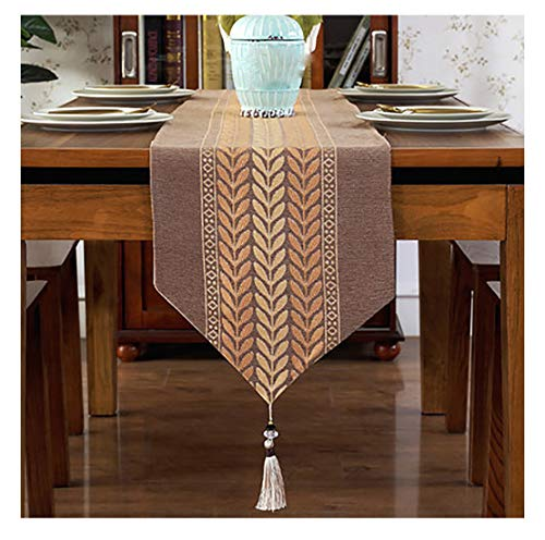 Chemin De Table Simple Luxueux Moderne Table À Manger Bande Décoration Tissu Nappe De Table Table Basse Drapeau De Lit Comptoir Bar (Brown,33x210cm)