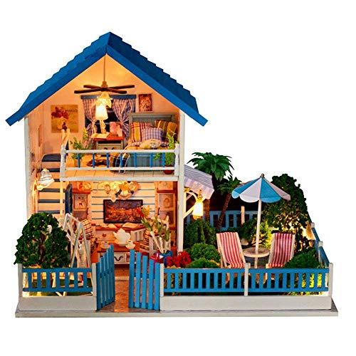 Taoke DIY Miniatur-Puppenhaus-Set, 3D Cozy DIY Holz Miniatur-Puppenhaus-Kits mit LED-Licht kreativer Handarbeit Home Möbel 2 Stufen Baumaschinen Modell Fun Bildung und Vollkommene Dekoration 8bayfa