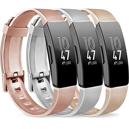 Vancle 3 Pack Kompatibel für Fitbit Inspire HR Armband & Fitbit Inspire Armband, Silikon Sport Ersatzarmband für Fitbit Inspire/Inspire HR (Roségold/Gold/Silber, L)