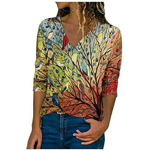 Oberteile Damen Sommer Locker T Shirt Damen Schwarz Grafischer Druck Damenblusen Tunika Shirt Streetwear Good Omens T-Shirt Regenbogenpullover Tshirt Tie Dye(Yellow,M)