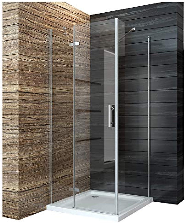Duschabtrennung 90x76cm Duschkabine Eckeinstieg Duschtür Seitenwand Dusche Scharniertür aus 6mm ESG mit Duschtasse 90  76 cm