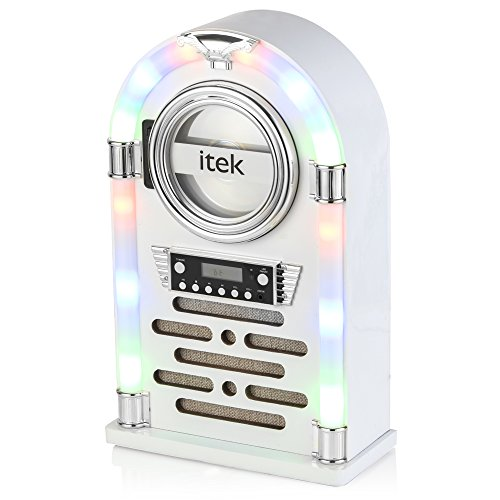 iTek Jukebox with CD Player, FM Radio and Bluetooth Connection, Remote Control Included, Gloss White