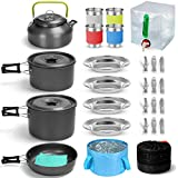 Odoland 29pcs Camping Cookware Mess Kit, Non-Stick Lightweight Pots Pan Kettle, Collapsible Water...