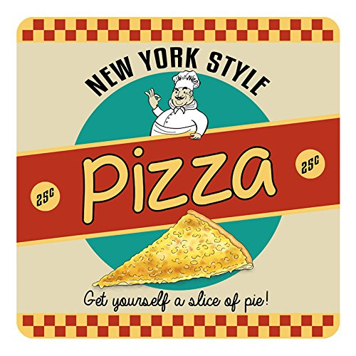 New York Style Pizza, Retro American Diner Slice Drinks Table Coaster