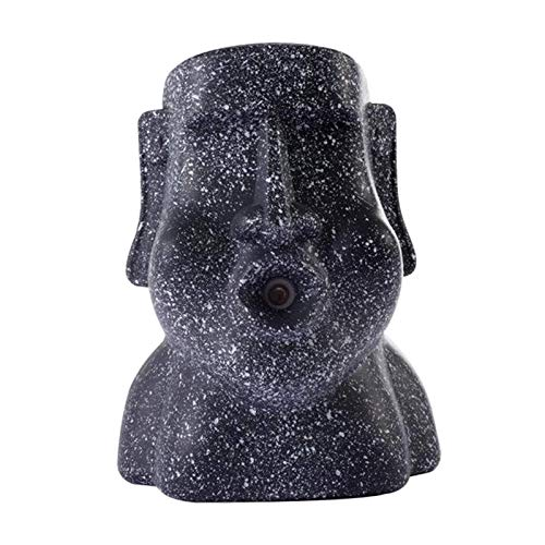 Tubayia Kreative Moai Statue Luftbefeuchter 220ml Raumluftbefeuchter Dekoration für Zuhause, Büro (Schwarz)