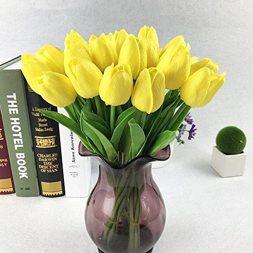 MAICHIHUOY 20 StüCk KüNstliche Tulpe Blume Latex Bouquet Blumenstrauß Blumenschmuck Real Touch Bridal Wedding Dekoration Home Hotel Party