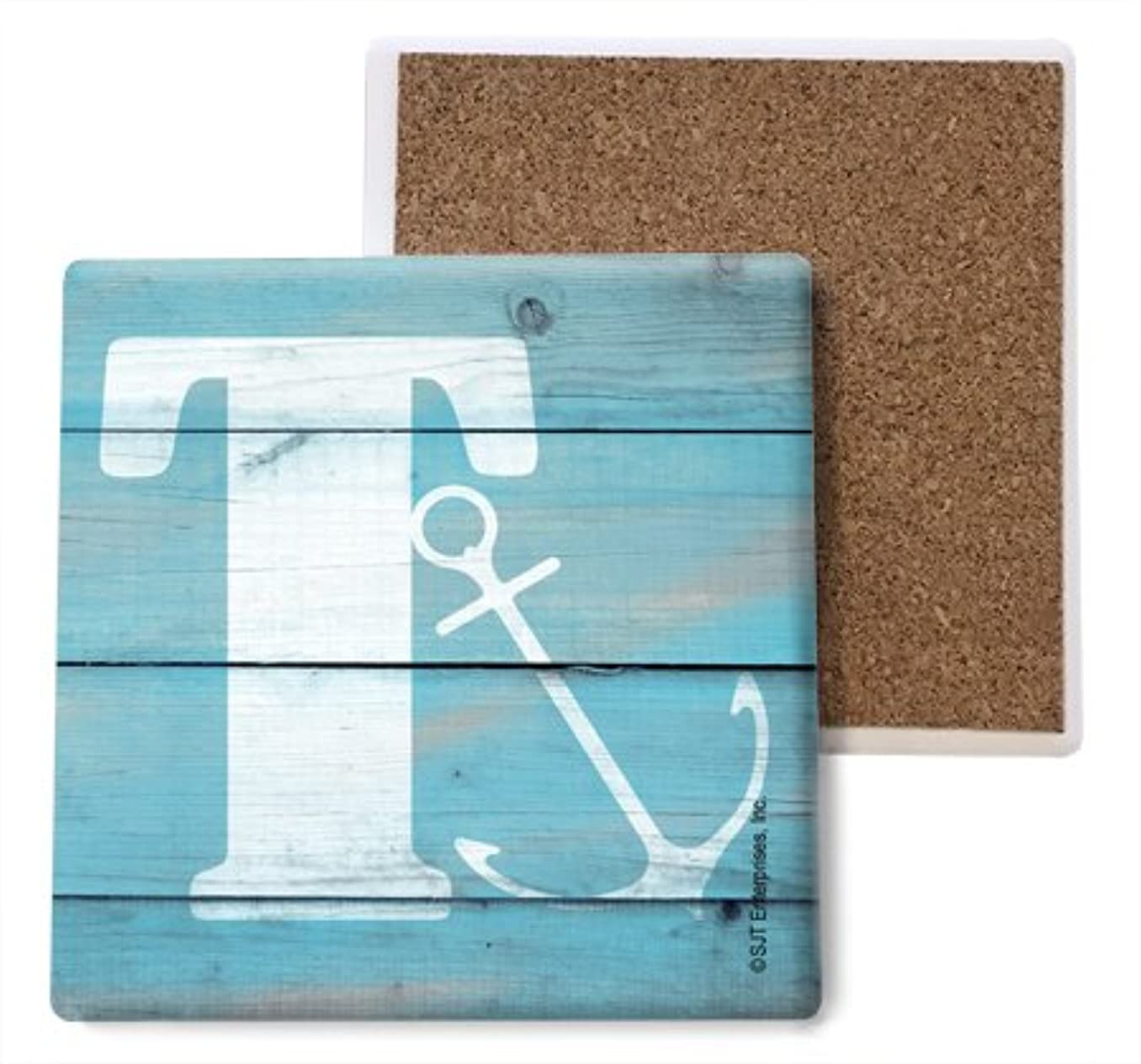 SJT ENTERPRISES, INC. Initial/Letter Lake and Beach Themed Coasters -T Absorbent Stone Coasters, 4-inch (4-Pack) (SJT96881)