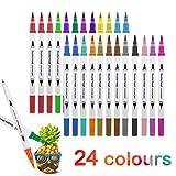 Juego de 36 rotuladores para colorear con base de agua, punta fina, para niños o adultos, para dibujar bocetar, colorear resaltar y subrayar 24 colores