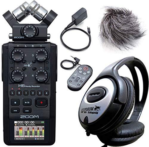 Zoom H6 Black Handy Recorder 6-Aufnahmespuren + APH-6 Zubehör Set + keepdrum Kopfhörer