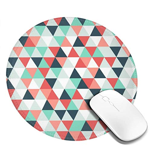 Round Mouse Pad Non-Slip Customized Rubber Base Mouse Mat Triangles Tonal Geometric Mosaic Pattern Colorful Mousepad Washable Premium-Textured Gaming Mouse Pad For Gaming Office Working Keyboard 4 Pcs