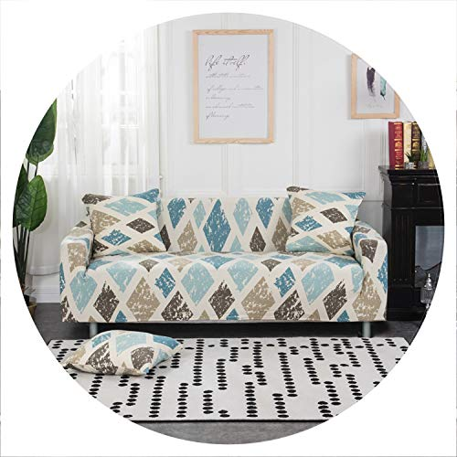 Price comparison product image sensitives White Blue Plaid Colors Sofa Cover Elastic Cotton Stretch Slipcovers Sofa Couch Corner Cover Sofa Covers for Living Room 1PC, Color 17, 3-Seater 190-230cm