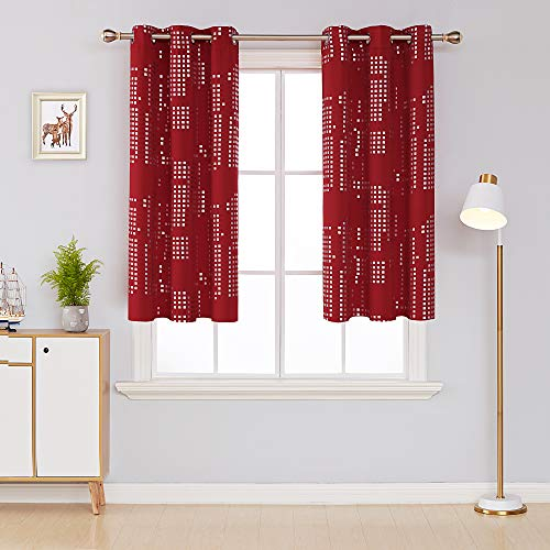 Deconovo Thermal Insulated Blackout Curtains for Bedroom Silver Print Energy Efficient Draperies Grommet Window Treatment Panels for Living Room, 38x45 Inch, Red
